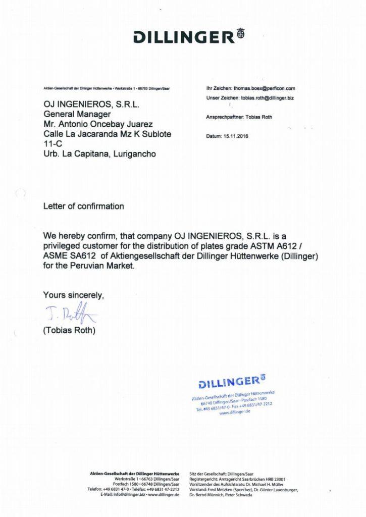 Certificado Dillinger Hütte Fabricación de Tanques GLP